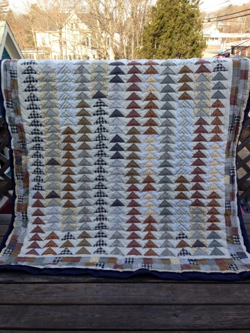 quilt, flying geese, deck, Maine
